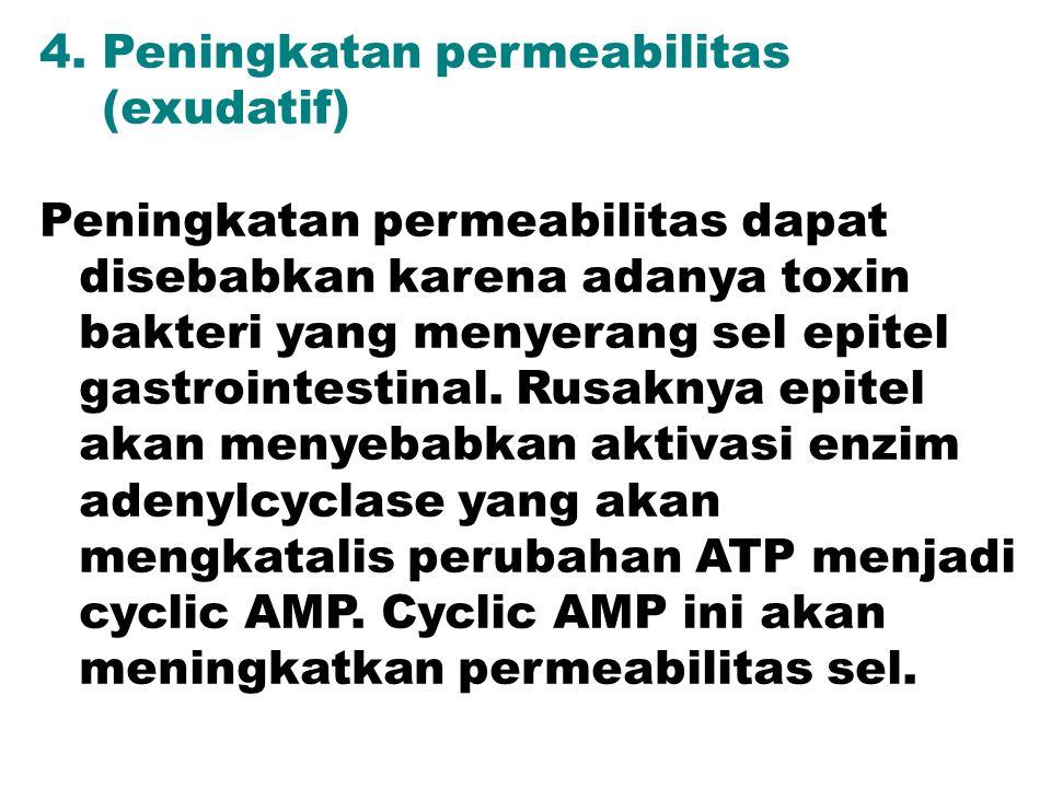 4. Peningkatan permeabilitas (exudatif) Peningkatan permeabilitas dapat disebabkan karena adanya toxin bakteri yang menyerang sel epitel gastrointesti