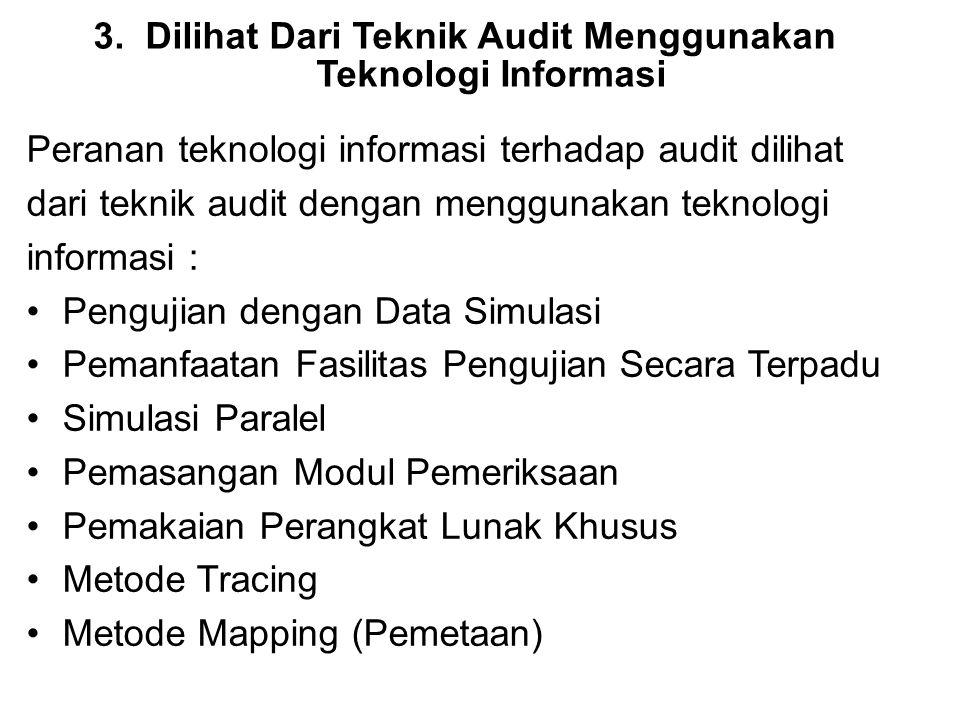 3.Dilihat Dari Teknik Audit Menggunakan Teknologi Informasi Peranan teknologi informasi terhadap audit dilihat dari teknik audit dengan menggunakan te