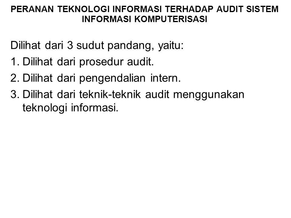 PERANAN TEKNOLOGI INFORMASI TERHADAP AUDIT SISTEM INFORMASI KOMPUTERISASI Dilihat dari 3 sudut pandang, yaitu: 1.Dilihat dari prosedur audit. 2.Diliha