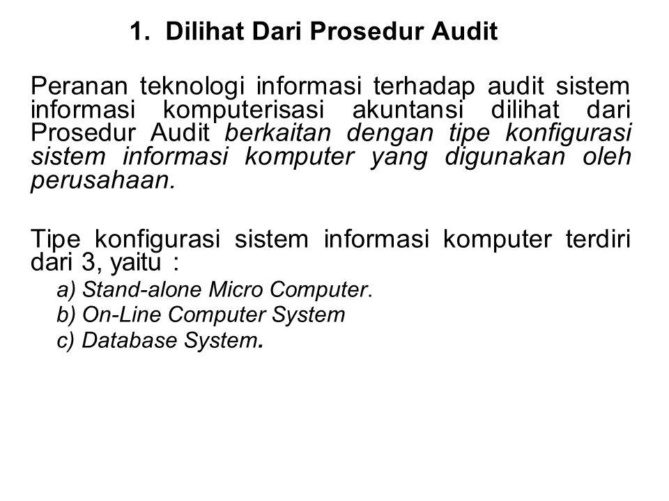 1.Dilihat Dari Prosedur Audit Peranan teknologi informasi terhadap audit sistem informasi komputerisasi akuntansi dilihat dari Prosedur Audit berkaita