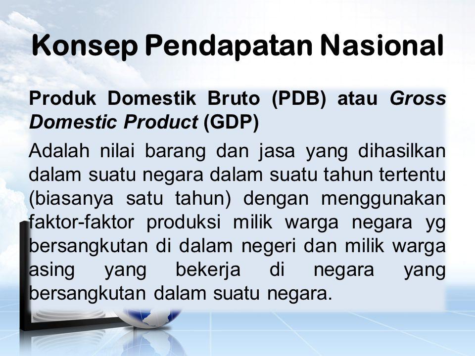 Konsep Pendapatan Nasional Produk Domestik Bruto (PDB) atau Gross Domestic Product (GDP) Adalah nilai barang dan jasa yang dihasilkan dalam suatu negara dalam suatu tahun tertentu (biasanya satu tahun) dengan menggunakan faktor-faktor produksi milik warga negara yg bersangkutan di dalam negeri dan milik warga asing yang bekerja di negara yang bersangkutan dalam suatu negara.