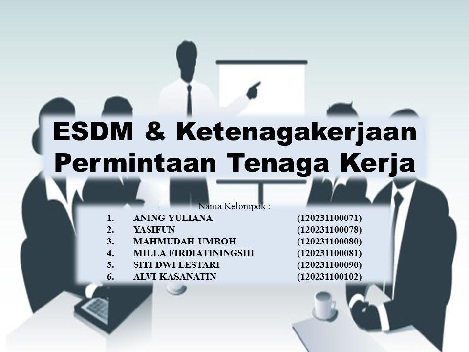 ESDM & Ketenagakerjaan Permintaan Tenaga Kerja Nama Kelompok : 1.ANING YULIANA (120231100071) 2.YASIFUN (120231100078) 3.MAHMUDAH UMROH (120231100080)