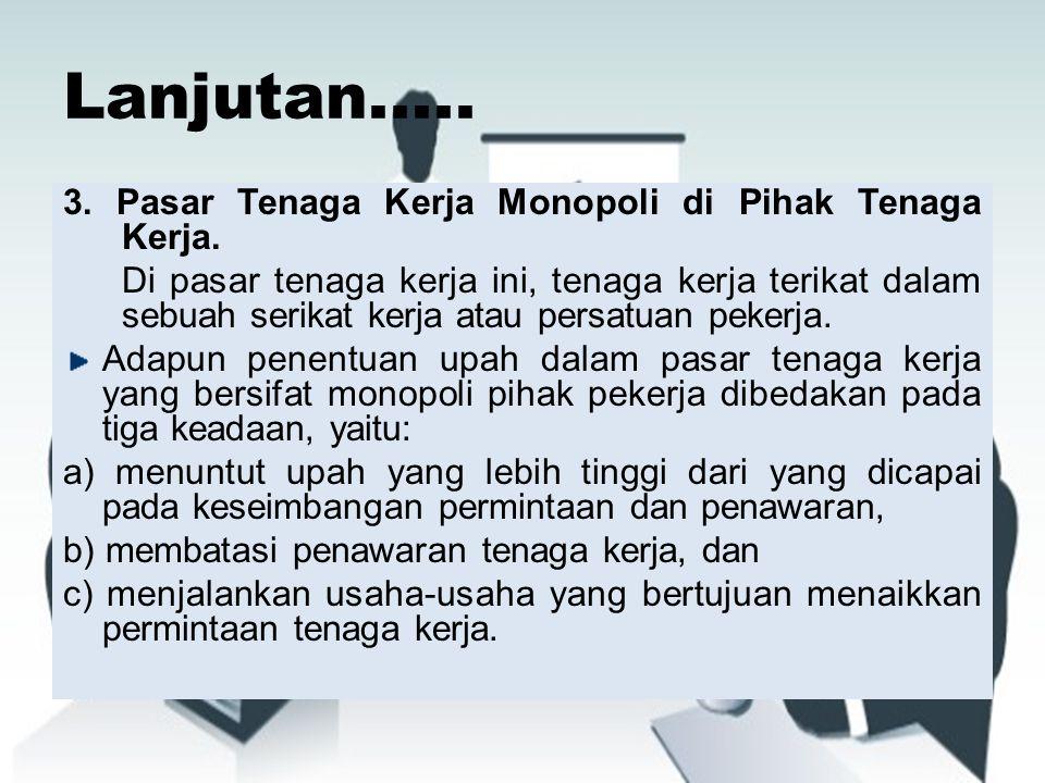 Lanjutan.....3. Pasar Tenaga Kerja Monopoli di Pihak Tenaga Kerja.