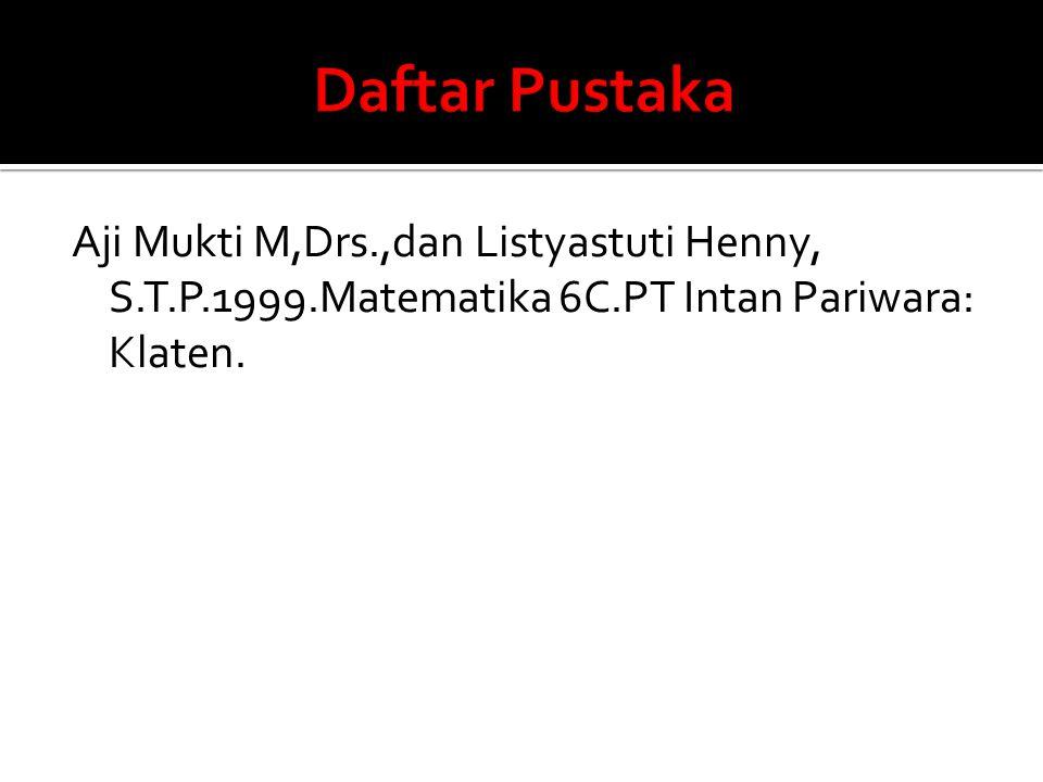 Aji Mukti M,Drs.,dan Listyastuti Henny, S.T.P.1999.Matematika 6C.PT Intan Pariwara: Klaten.