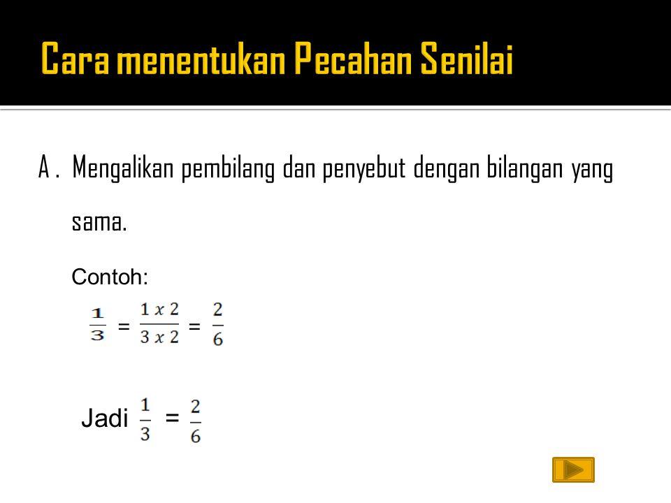 A. Mengalikan pembilang dan penyebut dengan bilangan yang sama. Contoh: = = Jadi =
