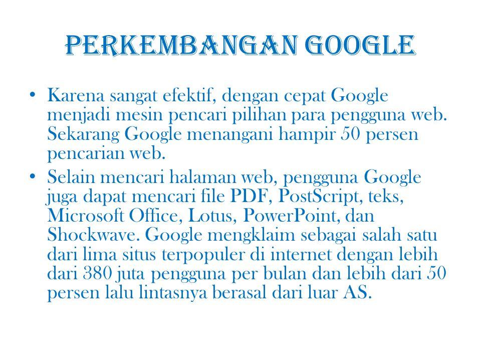 Pendapatan Google Sisi dari Google yang menghasilkan pertumbuhan dan keuntungan fenomenalnya adalah program iklannya.