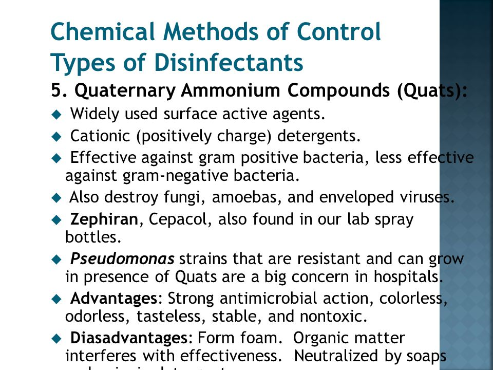 Chemical Methods of Control Types of Disinfectants 4. Heavy Metals: D. Selenium u Kills fungi and their spores. Used for fungal infections. u Also use