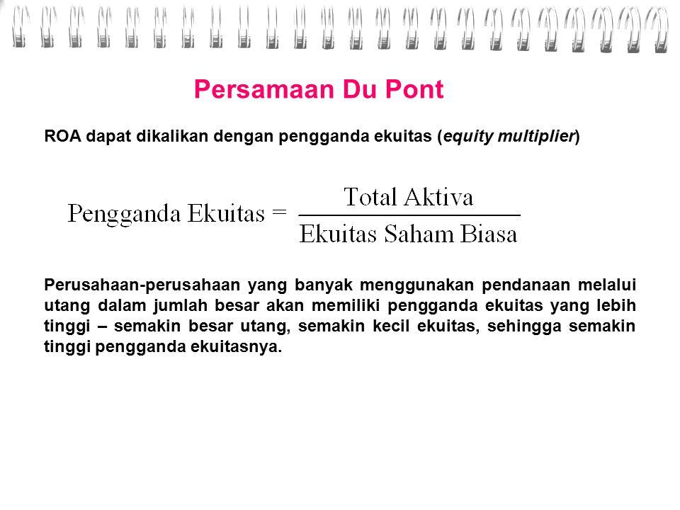 Persamaan Du Pont Margin laba dikalikan dengan perputaran total aktiva disebut sebagai persamaan Du Pont dan merupakan tingkat pengembalian atas aktiva (ROA).