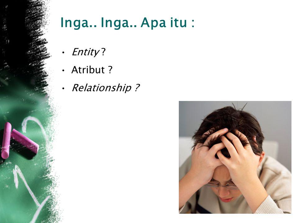 Inga.. Inga.. Apa itu : Entity ? Atribut ? Relationship ?