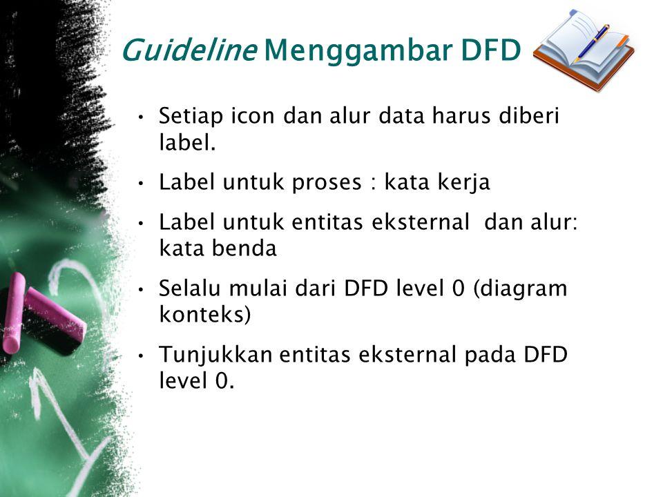 Guideline Menggambar DFD Setiap icon dan alur data harus diberi label.