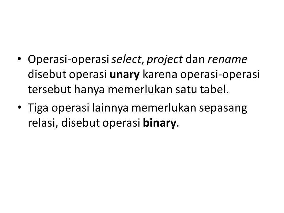 Operasi-operasi select, project dan rename disebut operasi unary karena operasi-operasi tersebut hanya memerlukan satu tabel. Tiga operasi lainnya mem