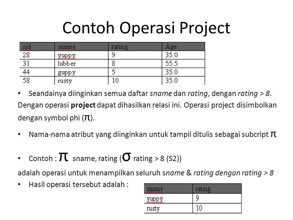 Contoh Operasi Project Seandainya diinginkan semua daftar sname dan rating, dengan rating > 8. Dengan operasi project dapat dihasilkan relasi ini. Ope