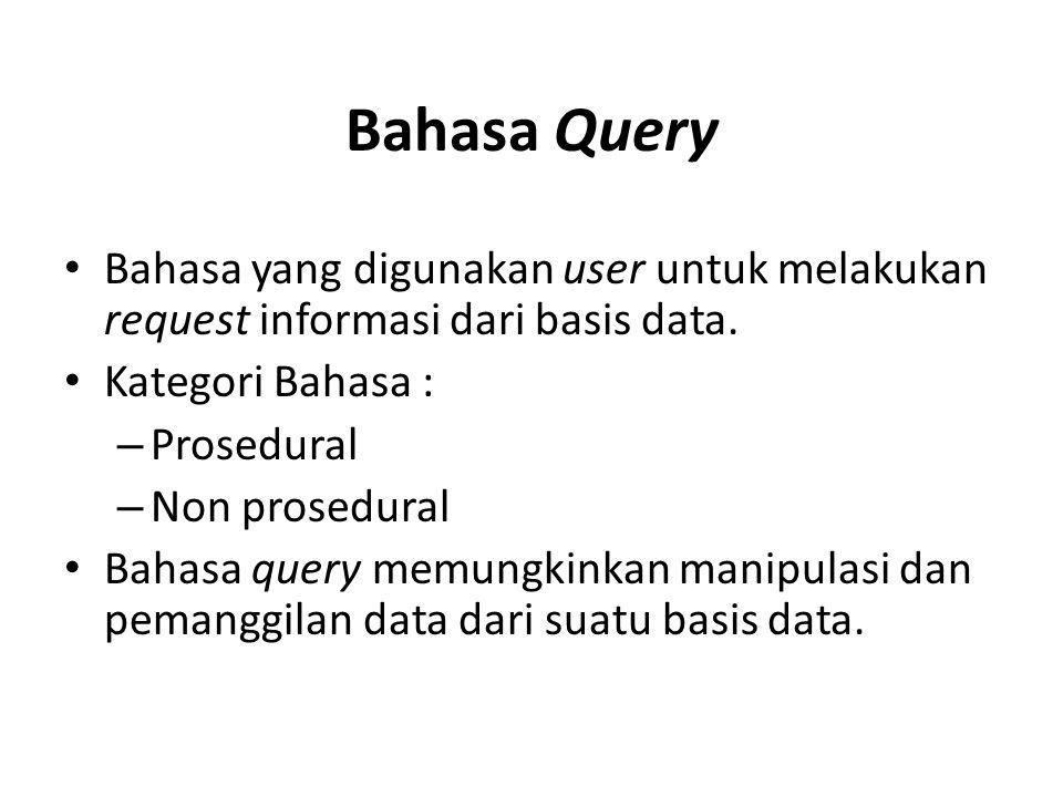 Terdapat 2 macam bentuk bahasa query : – Aljabar Relasional Aljabar relasional adalah sebuah bahasa query prosedural yang terdiri dari sekumpulan operasi dimana masukannya adalah satu atau dua relasi dan keluarannya adalah sebuah relasi baru sebagai hasil dari operasi tersebut.