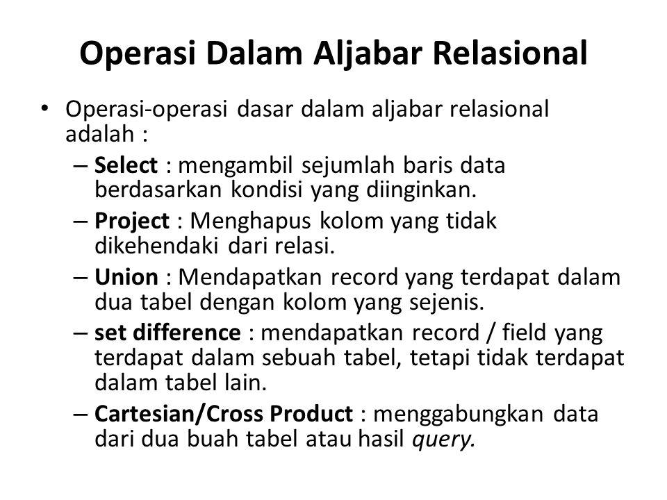 Operasi Dalam Aljabar Relasional Operasi-operasi dasar dalam aljabar relasional adalah : – Select : mengambil sejumlah baris data berdasarkan kondisi