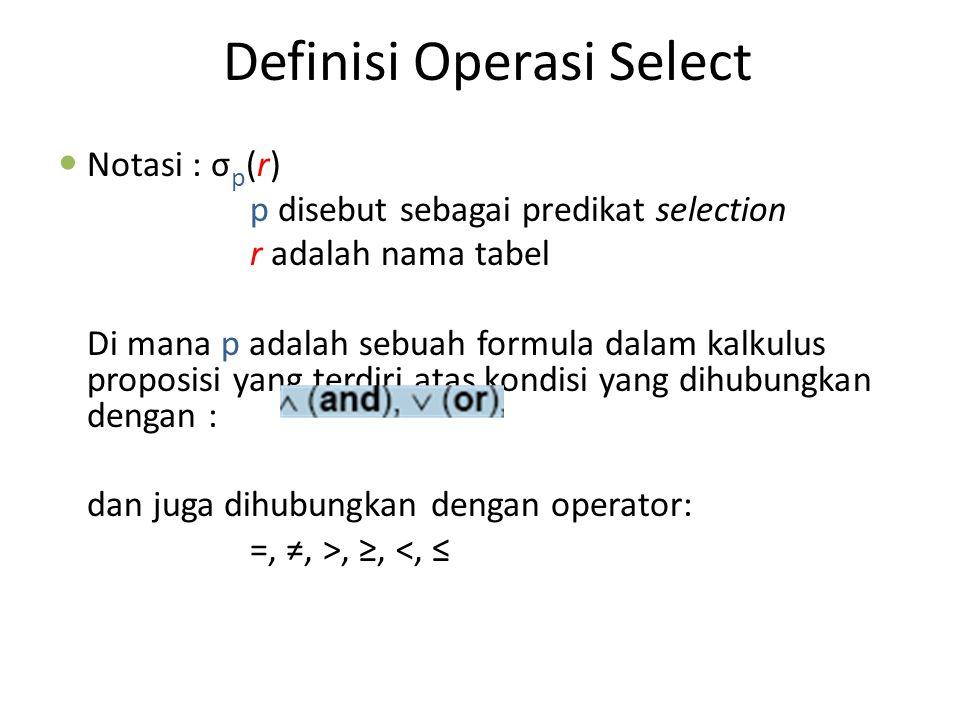Operasi Select (Contoh)
