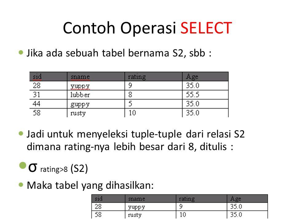 Contoh Operasi SELECT Jika ada sebuah tabel bernama S2, sbb : Jadi untuk menyeleksi tuple-tuple dari relasi S2 dimana rating-nya lebih besar dari 8, d