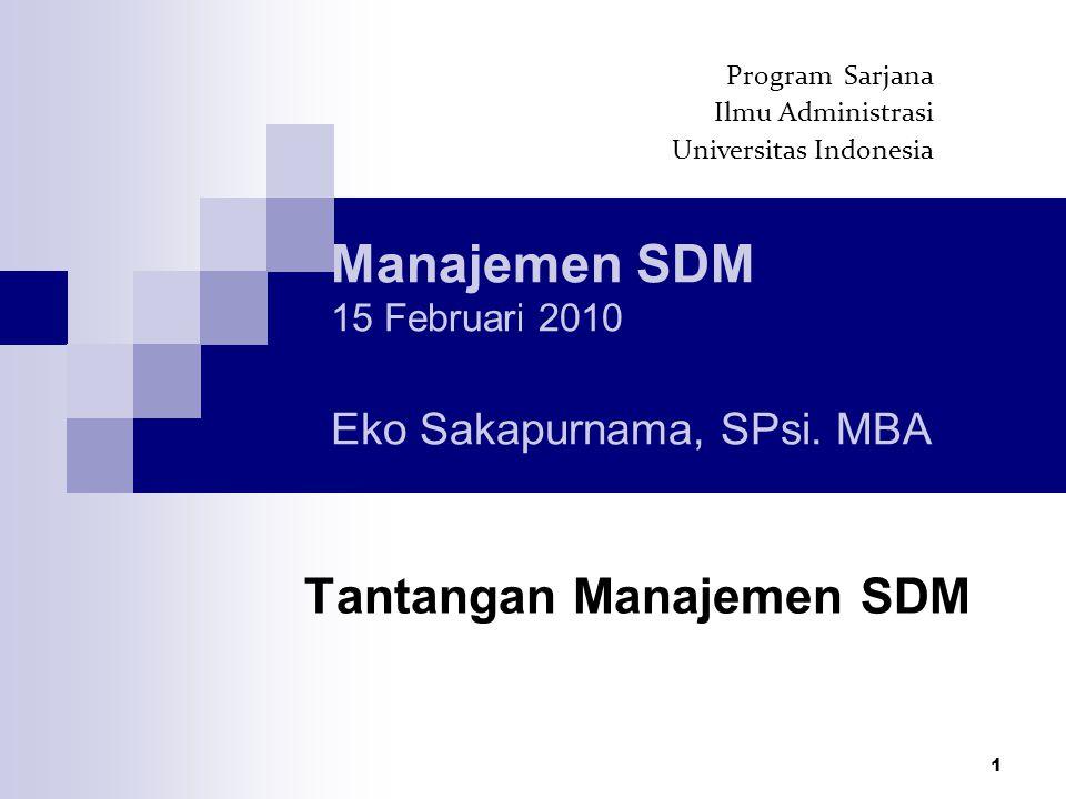 1 Manajemen SDM 15 Februari 2010 Eko Sakapurnama, SPsi.