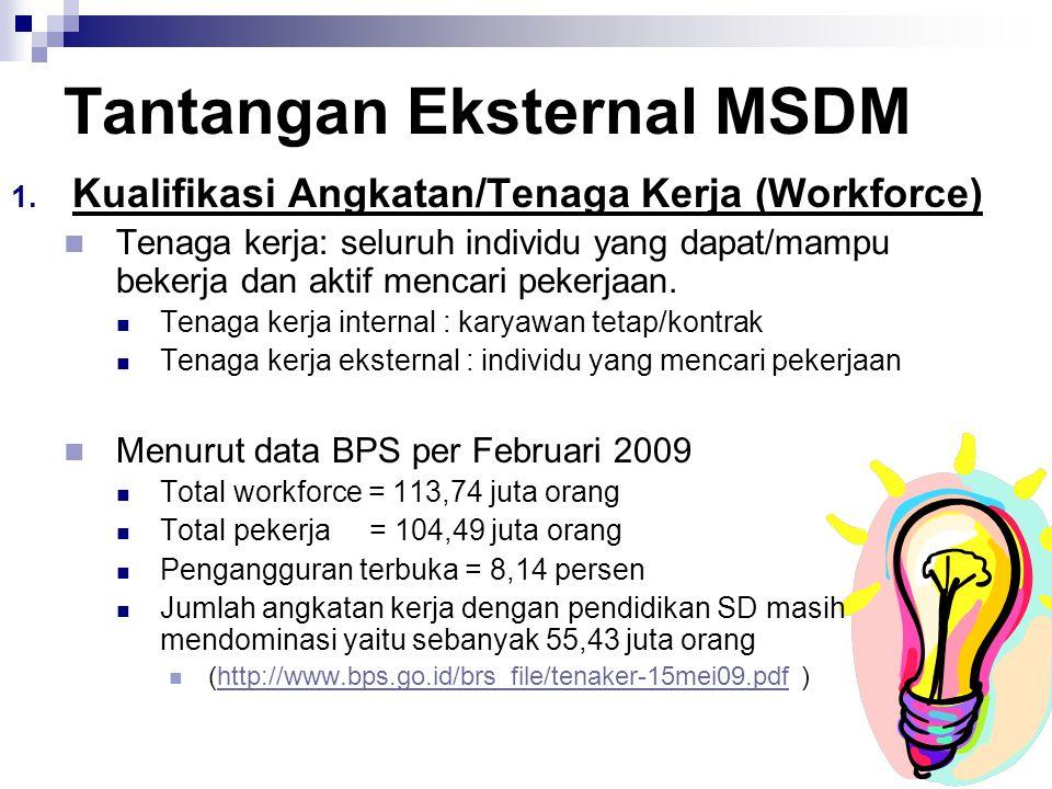 8 Tantangan Eksternal MSDM  Kualifikasi Angkatan/Tenaga Kerja (Workforce) Tenaga kerja: seluruh individu yang dapat/mampu bekerja dan aktif mencari pekerjaan.