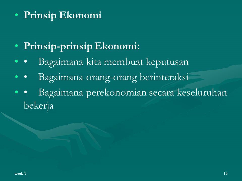 Prinsip Ekonomi Prinsip-prinsip Ekonomi: Bagaimana kita membuat keputusan Bagaimana orang-orang berinteraksi Bagaimana perekonomian secara keseluruhan