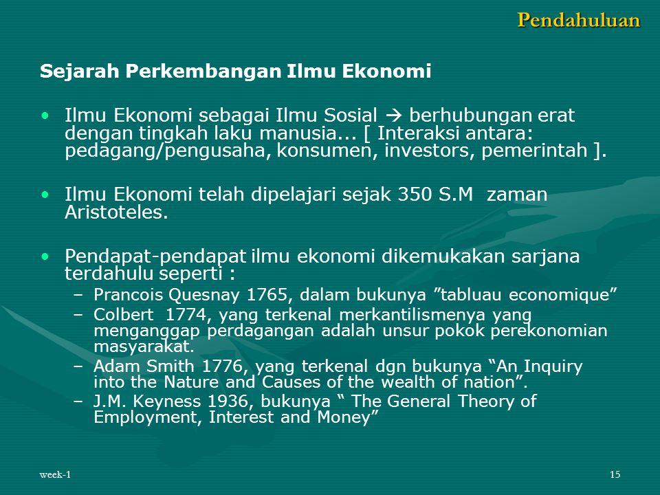 week-115 Sejarah Perkembangan Ilmu Ekonomi Ilmu Ekonomi sebagai Ilmu Sosial  berhubungan erat dengan tingkah laku manusia... [ Interaksi antara: peda