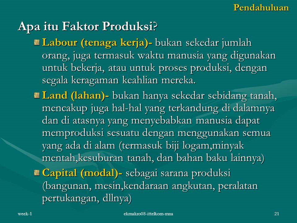 week-1ekmakro08-ittelkom-mna21 Apa itu Faktor Produksi? Labour (tenaga kerja)- bukan sekedar jumlah orang, juga termasuk waktu manusia yang digunakan