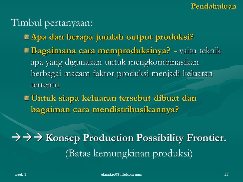 week-1ekmakro08-ittelkom-mna22 Timbul pertanyaan: Apa dan berapa jumlah output produksi? Bagaimana cara memproduksinya? - yaitu teknik apa yang diguna