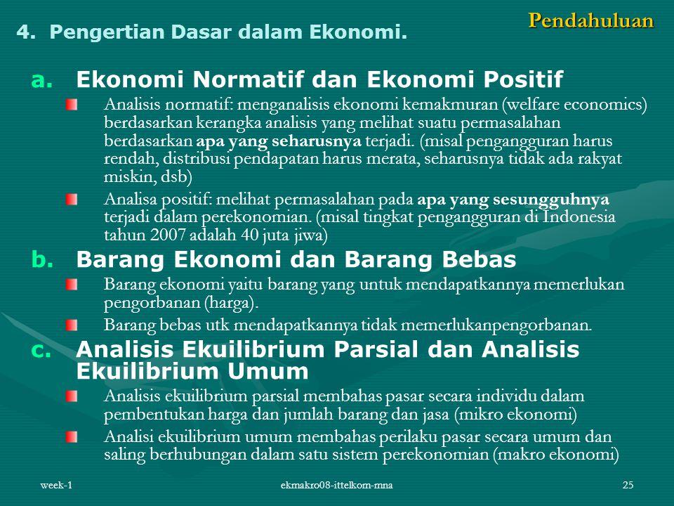 week-1ekmakro08-ittelkom-mna25 4. Pengertian Dasar dalam Ekonomi. a. a.Ekonomi Normatif dan Ekonomi Positif Analisis normatif: menganalisis ekonomi ke