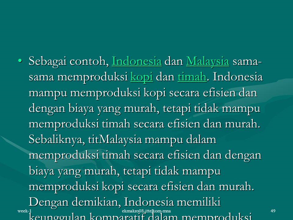 Sebagai contoh, Indonesia dan Malaysia sama- sama memproduksi kopi dan timah. Indonesia mampu memproduksi kopi secara efisien dan dengan biaya yang mu