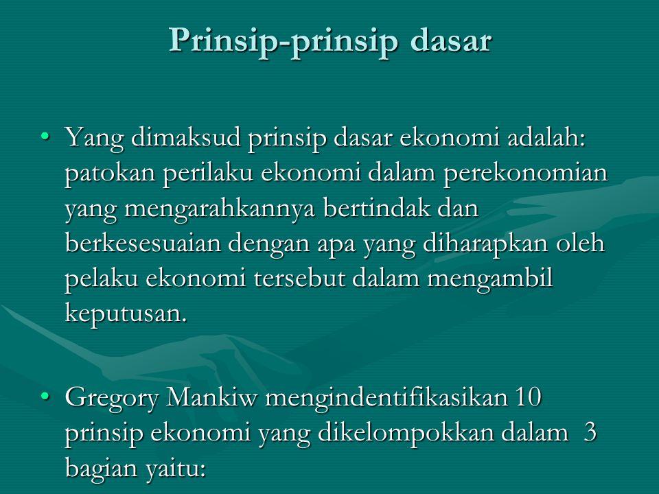 Prinsip-prinsip dasar Yang dimaksud prinsip dasar ekonomi adalah: patokan perilaku ekonomi dalam perekonomian yang mengarahkannya bertindak dan berkes