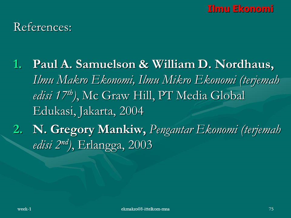 week-1ekmakro08-ittelkom-mna75 References: 1.Paul A. Samuelson & William D. Nordhaus, Ilmu Makro Ekonomi, Ilmu Mikro Ekonomi (terjemah edisi 17 th ),