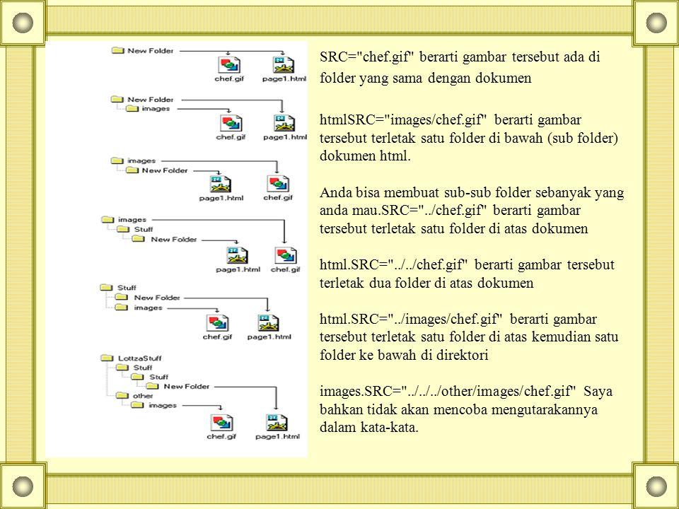 SRC= chef.gif berarti gambar tersebut ada di folder yang sama dengan dokumen htmlSRC= images/chef.gif berarti gambar tersebut terletak satu folder di bawah (sub folder) dokumen html.