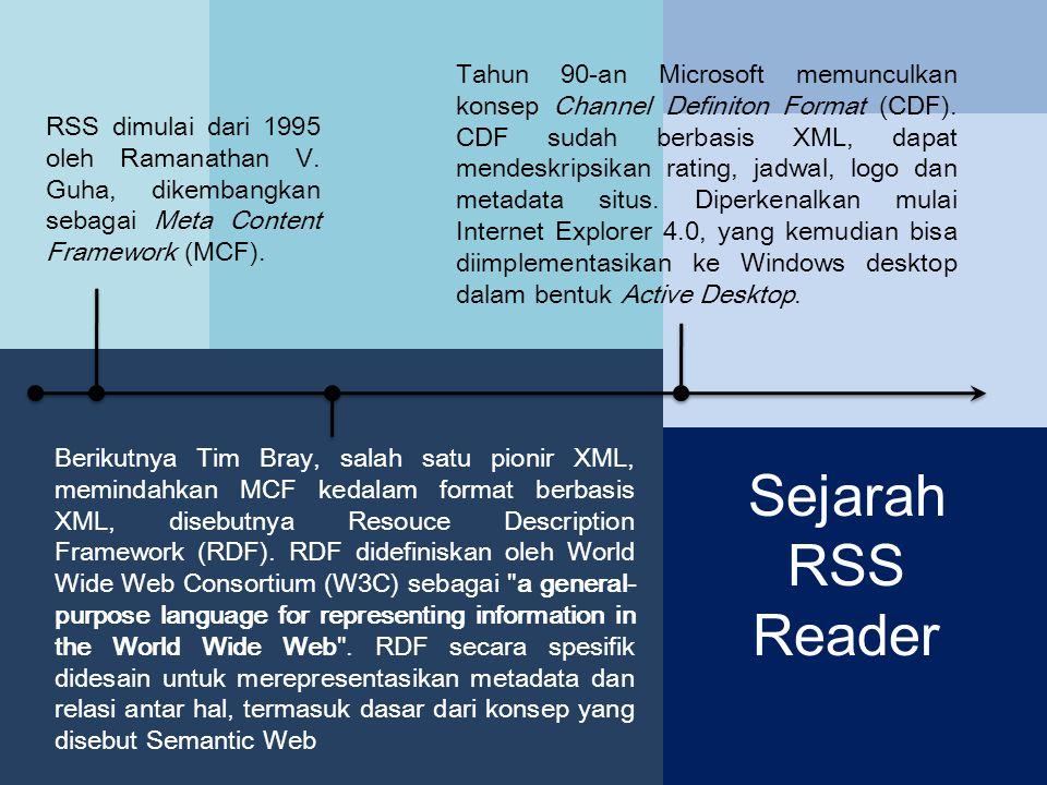 RSS dimulai dari 1995 oleh Ramanathan V.Guha, dikembangkan sebagai Meta Content Framework (MCF).