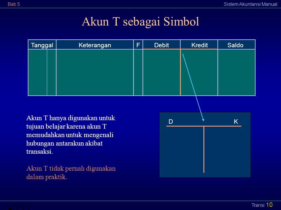 Bab 5Sistem Akuntansi Manual4/15/2015 Transi 10 Akun T sebagai Simbol TanggalFDebit KreditSaldoKeterangan D K Akun T hanya digunakan untuk tujuan bela