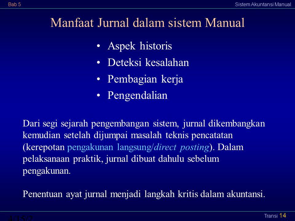 Bab 5Sistem Akuntansi Manual4/15/2015 Transi 14 Manfaat Jurnal dalam sistem Manual Aspek historis Deteksi kesalahan Pembagian kerja Pengendalian Dari