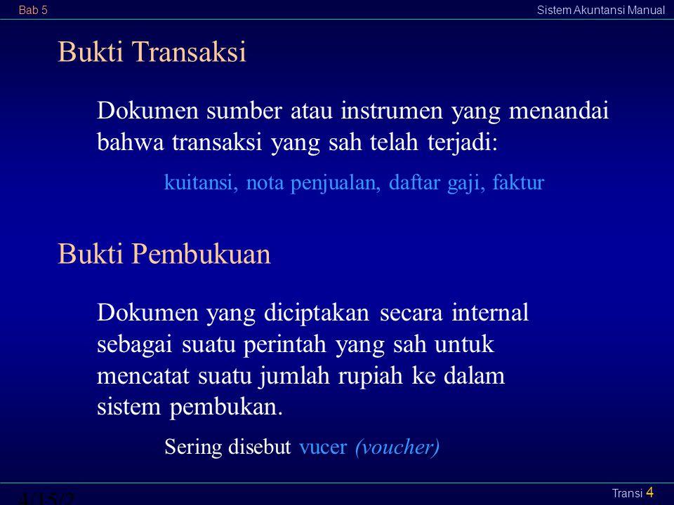 Bab 5Sistem Akuntansi Manual4/15/2015 Transi 4 Dokumen sumber atau instrumen yang menandai bahwa transaksi yang sah telah terjadi: kuitansi, nota penj