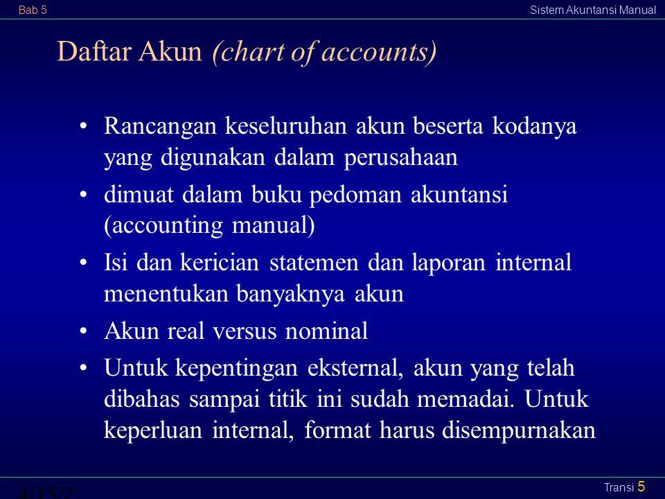 Bab 5Sistem Akuntansi Manual4/15/2015 Transi 5 Daftar Akun (chart of accounts) Rancangan keseluruhan akun beserta kodanya yang digunakan dalam perusah