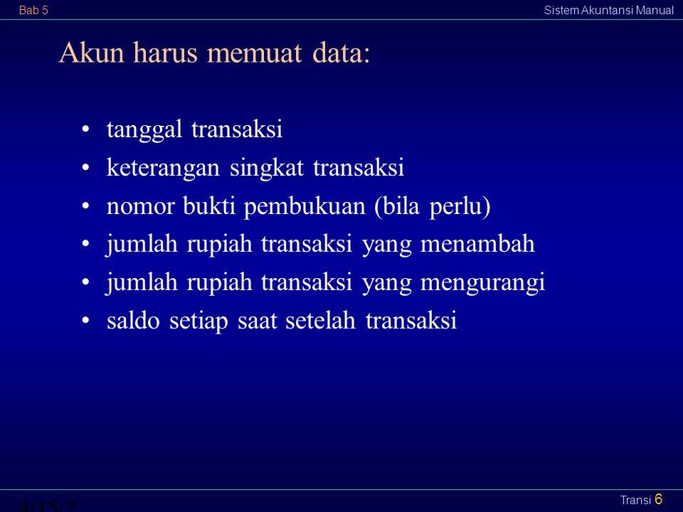 Bab 5Sistem Akuntansi Manual4/15/2015 Transi 6 Akun harus memuat data: tanggal transaksi keterangan singkat transaksi nomor bukti pembukuan (bila perl