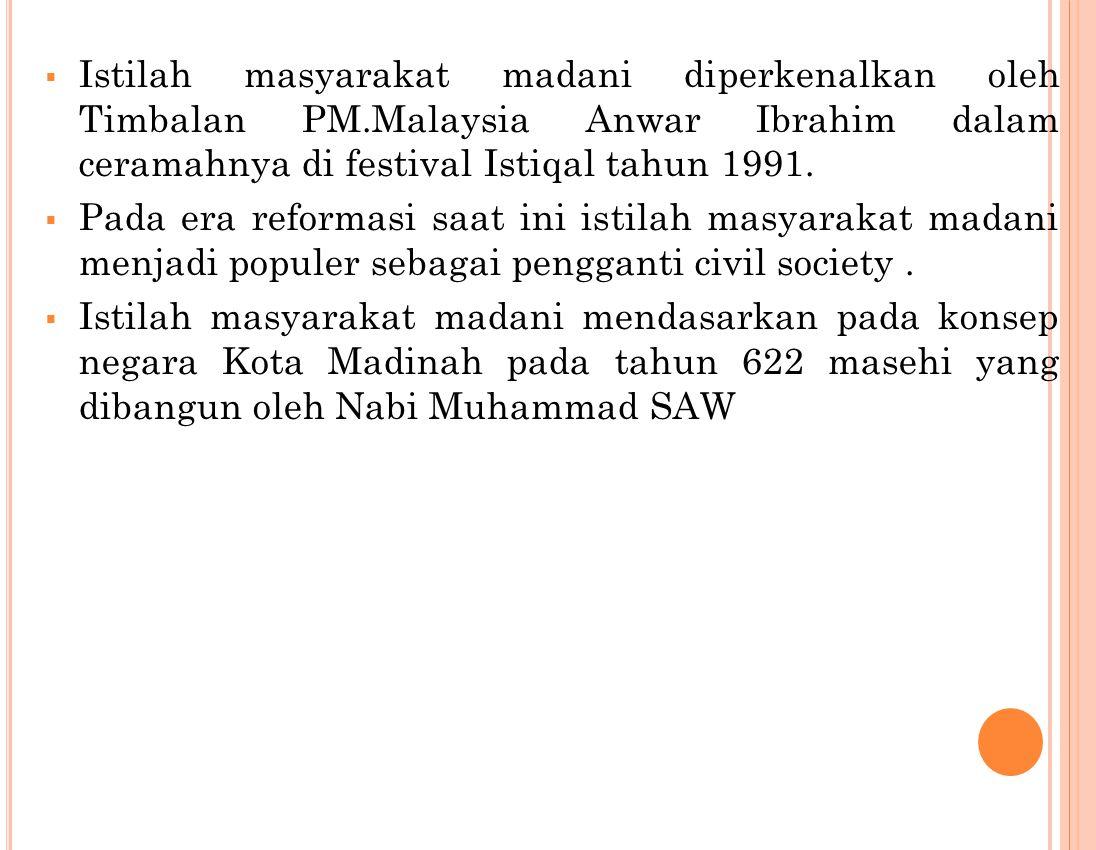  Istilah masyarakat madani diperkenalkan oleh Timbalan PM.Malaysia Anwar Ibrahim dalam ceramahnya di festival Istiqal tahun 1991.