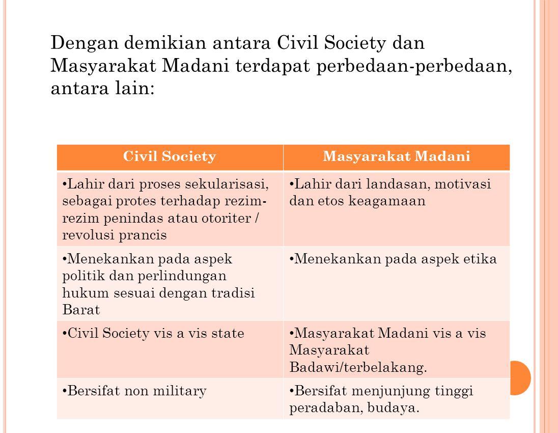Dengan demikian antara Civil Society dan Masyarakat Madani terdapat perbedaan-perbedaan, antara lain: Civil SocietyMasyarakat Madani Lahir dari proses sekularisasi, sebagai protes terhadap rezim- rezim penindas atau otoriter / revolusi prancis Lahir dari landasan, motivasi dan etos keagamaan Menekankan pada aspek politik dan perlindungan hukum sesuai dengan tradisi Barat Menekankan pada aspek etika Civil Society vis a vis state Masyarakat Madani vis a vis Masyarakat Badawi/terbelakang.