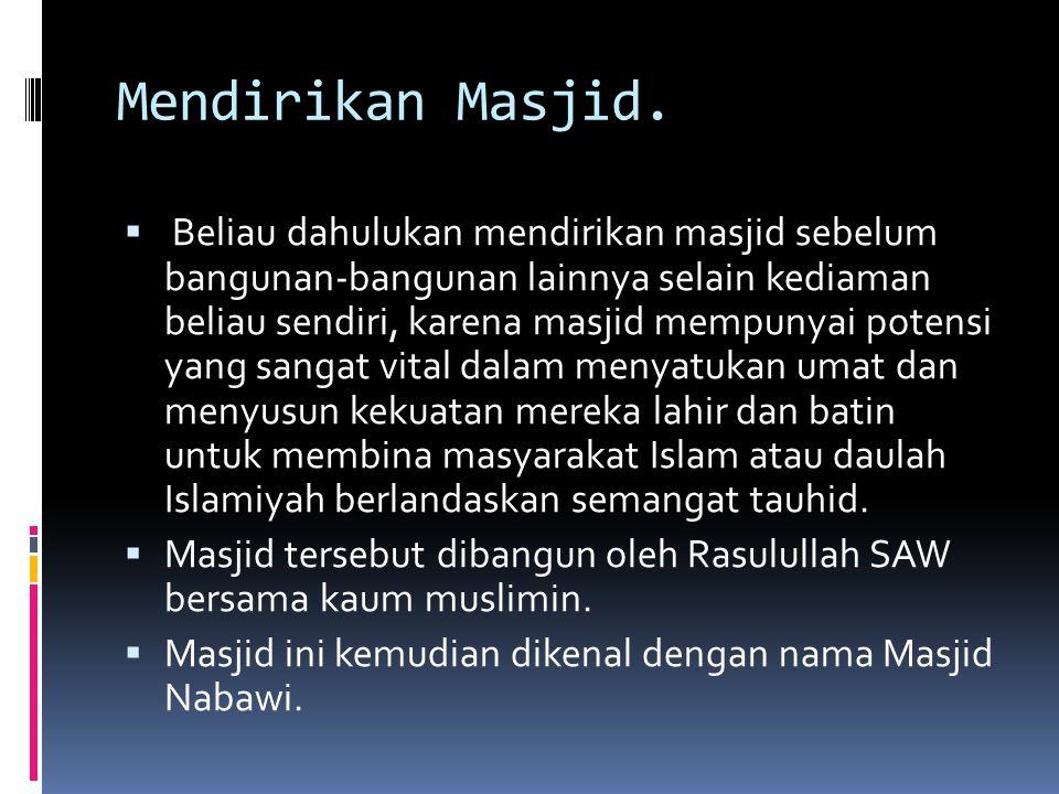 Mendirikan Masjid.  Beliau dahulukan mendirikan masjid sebelum bangunan-bangunan lainnya selain kediaman beliau sendiri, karena masjid mempunyai pote