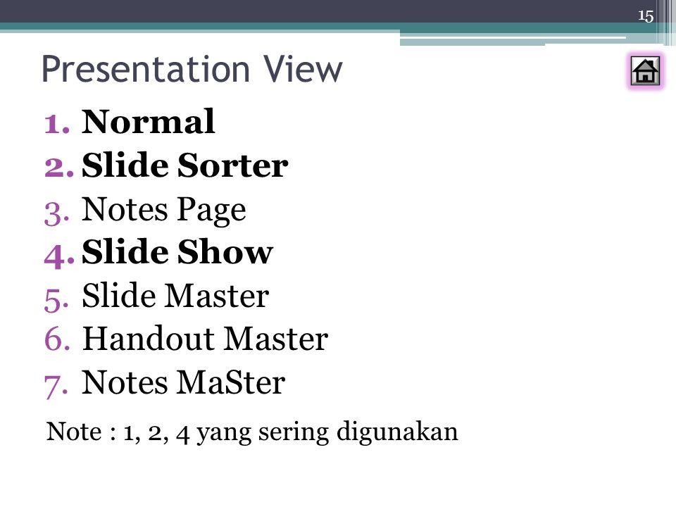 15 Presentation View 1.Normal 2.Slide Sorter 3.Notes Page 4.Slide Show 5.Slide Master 6.Handout Master 7.Notes MaSter Note : 1, 2, 4 yang sering digun