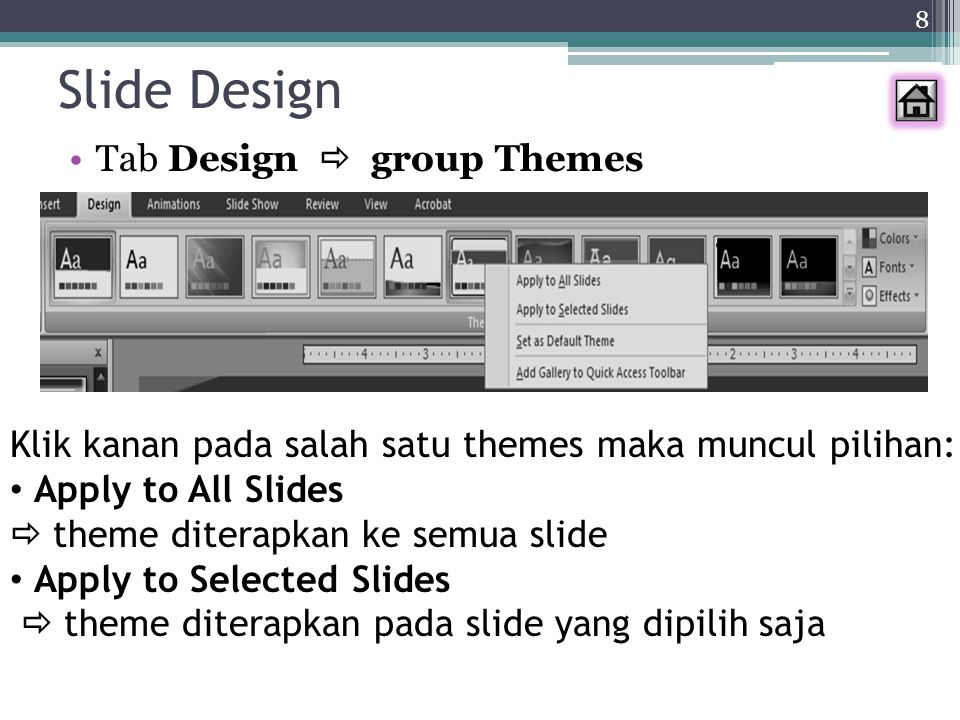 9 Background 1.Tab Design  Background Styles 2.Klik kanan pada area slide  Format Background 3.Klik kanan pada slide yang ingin diberi background  Format Background 1 2 3 Bagaimana membuat picture menjadi background??