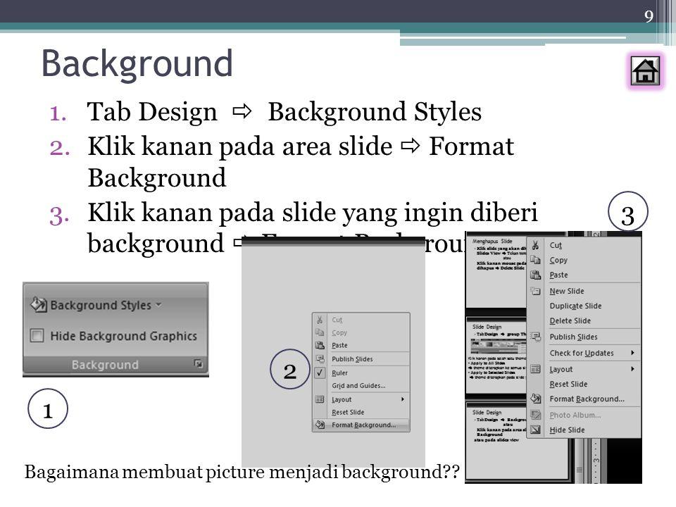 20 LATIHAN (Ambil Nilai) Buat 3 slide yang isinya lagu rohani (boleh lebih dari 1 lagu) Ukuran Slide : Width 11 inches, Height 8 inches Slide 1 : Menggunakan Slide Design sbg latar belakang Slide 2 : Menggunakan Format Background sebagai latar belakang Slide 3 : Menggunakan Picture sebagai latar belakang Font Size: 32 Ingat Warna Background dan tulisan harus CONTRAST Faktor Keindahan diNilai