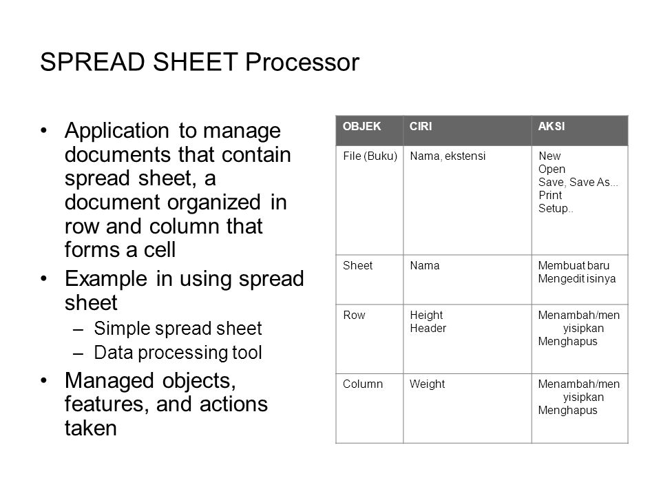 SPREAD SHEET Processor Application to manage documents that contain spread sheet, a document organized in row and column that forms a cell Example in