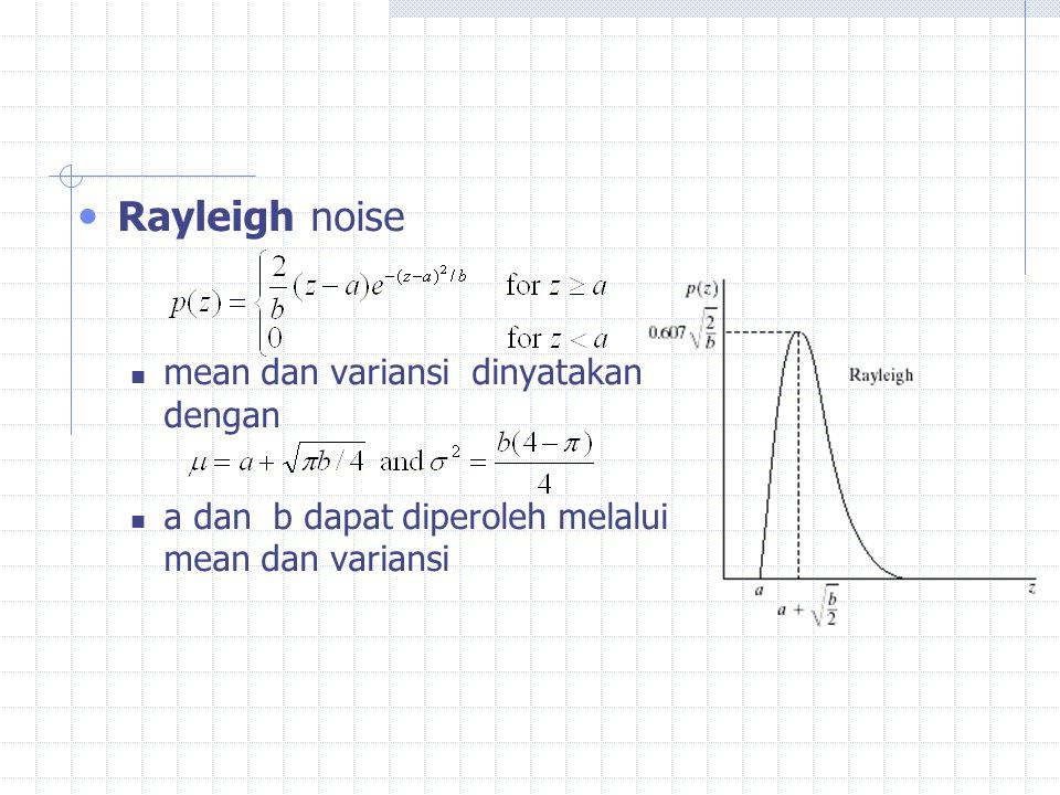 Rayleigh noise mean dan variansi dinyatakan dengan a dan b dapat diperoleh melalui mean dan variansi
