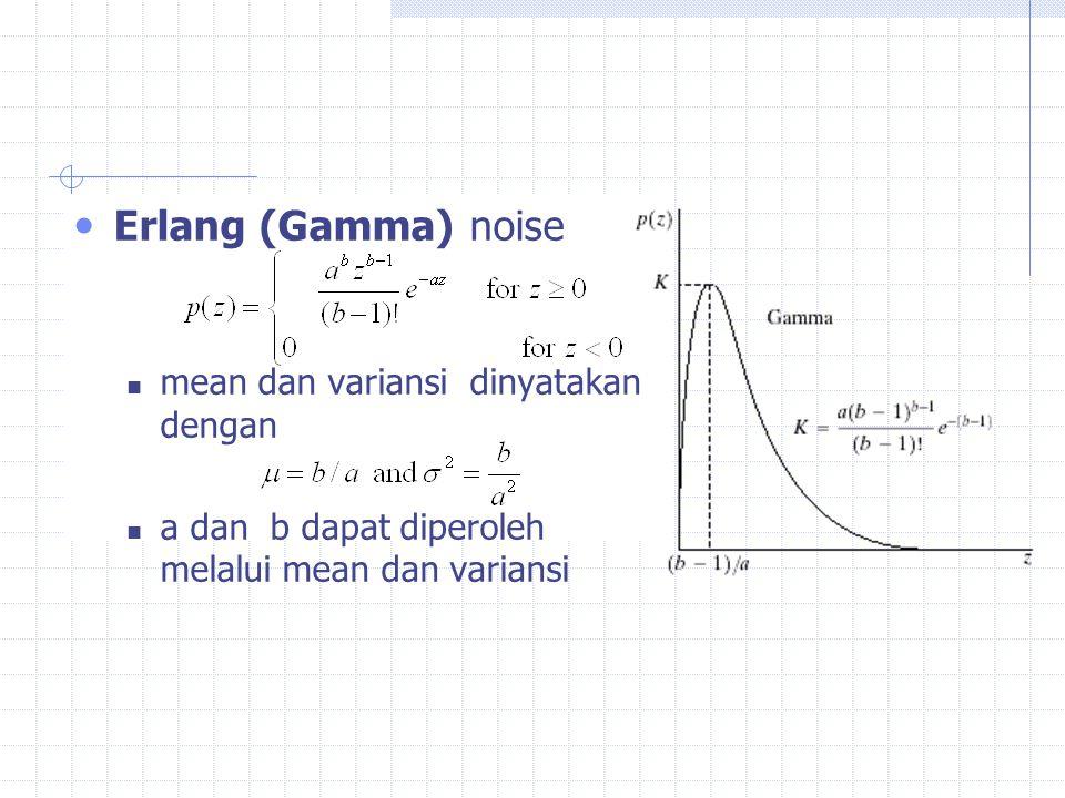 Erlang (Gamma) noise mean dan variansi dinyatakan dengan a dan b dapat diperoleh melalui mean dan variansi