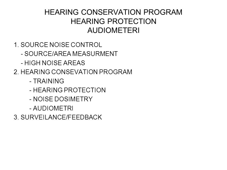 HEARING CONSERVATION PROGRAM HEARING PROTECTION AUDIOMETERI 1. SOURCE NOISE CONTROL - SOURCE/AREA MEASURMENT - HIGH NOISE AREAS 2. HEARING CONSEVATION