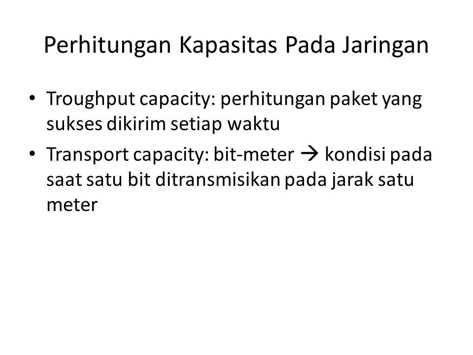 Perhitungan Kapasitas Pada Jaringan Troughput capacity: perhitungan paket yang sukses dikirim setiap waktu Transport capacity: bit-meter  kondisi pad