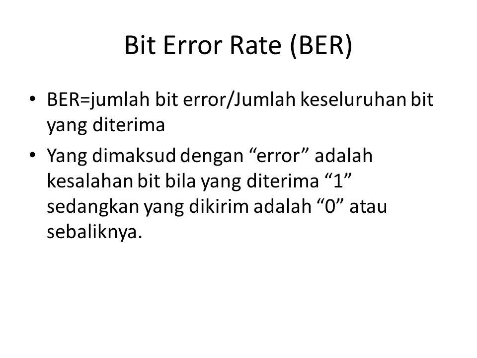 """Bit Error Rate (BER) BER=jumlah bit error/Jumlah keseluruhan bit yang diterima Yang dimaksud dengan """"error"""" adalah kesalahan bit bila yang diterima """"1"""