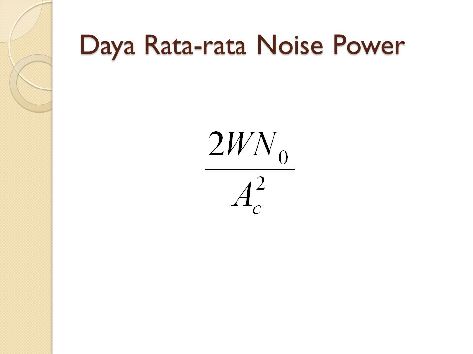 Daya Rata-rata Noise Power